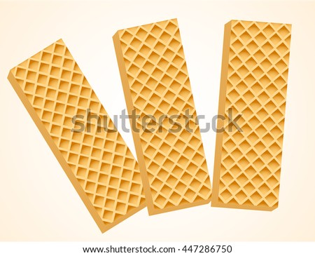 Three Vanilla Wafers. Vector Illustration