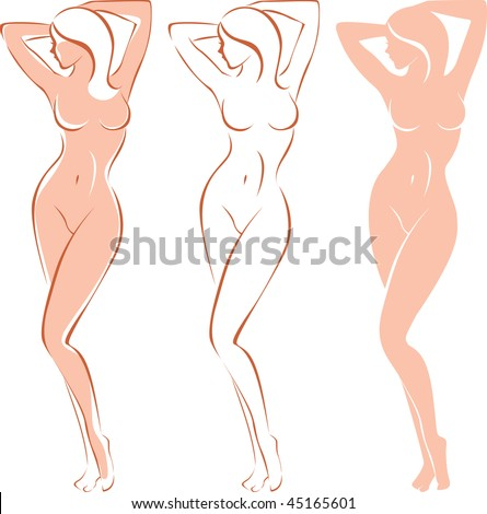 Three variations of beautiful nude woman silhouette - stock vector
