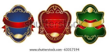 Three various emblems. Ready for the text of your choice. - stock vector
