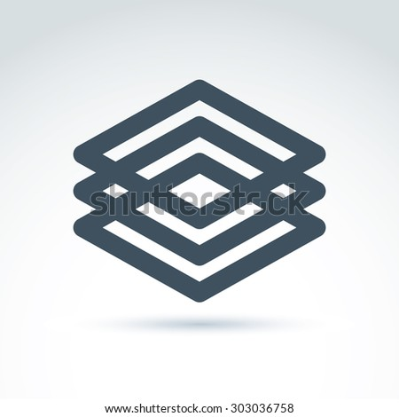 Three vector abstract intersected monochrome rhombs, merged diamonds isolated on white background. Complex geometric corporate brand symbol. - stock vector