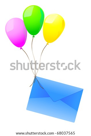 Three vector balloons lifting in air a dark blue post envelope