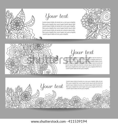 Three vector banners with beautiful monochrome floral pattern in doodle, zentangle style. Vector hand drawn background. Can be used in website, magazine or advertising.