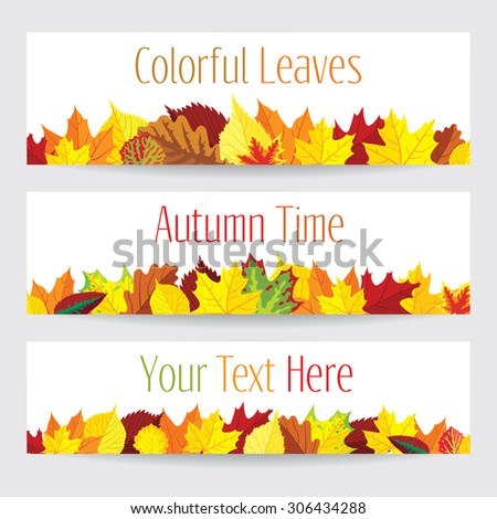 Three vector banners with colorful autumn leaves - stock vector