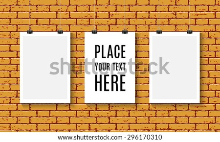 Three Vector Blank paper poster mock up on orange brick wall. Paper card with clips. Template of a paper sheet hanging on the rope. - stock vector