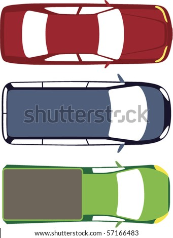 Three vector cars top view - stock vector