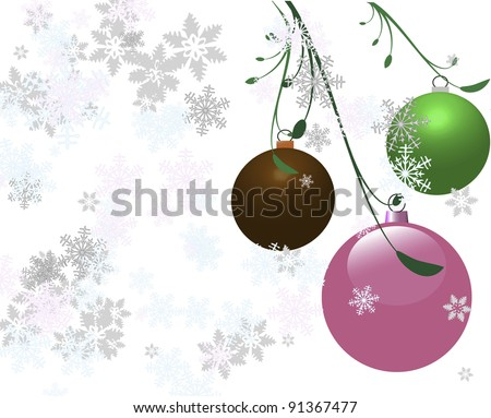 Three vector Christmas bulbs with a white snowy background. - stock vector