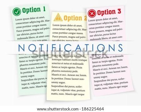 Three Vector Colour Sheets Notifications Stock Vector 186225464 ...