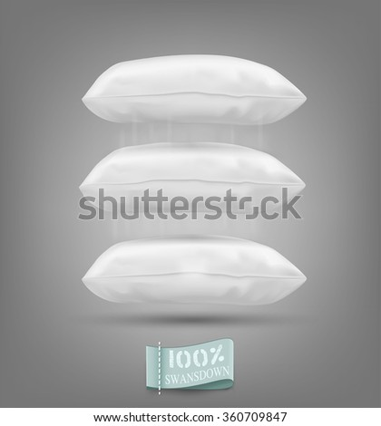 Three vector cushion falling on a gray background