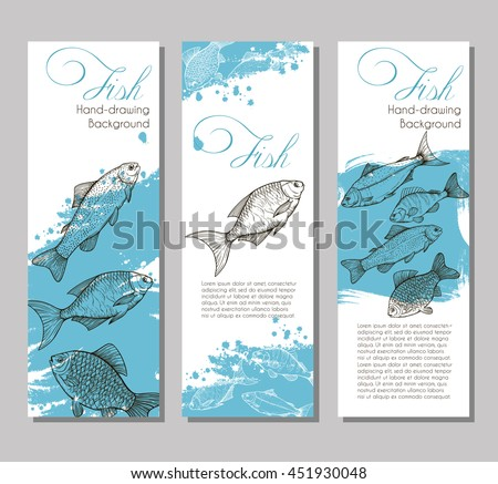 Three vector flyer with linear silhouettes of fish and blue splashes in the background. Sketch of bream, carp, trout, salmon, sturgeon, perch in vintage style. Brochures with fishes for design
