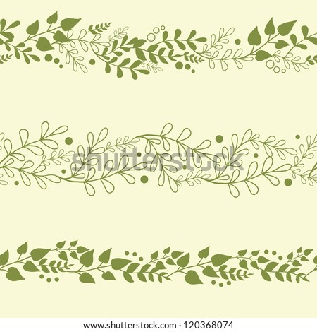 Three vector green plants horizontal seamless pattern background set with abstract plants with fun leaves and branches forming a floral texture. - stock vector