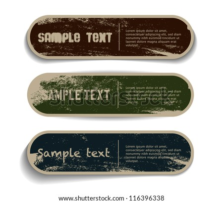 Three vector grungy paper stickers / banners / badges / labels with hand painted / cracked paint worn out backgrounds - stock vector
