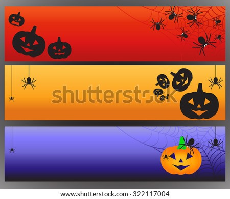 Three vector Halloween banners with spider and spiderweb. Vector illustration - stock vector