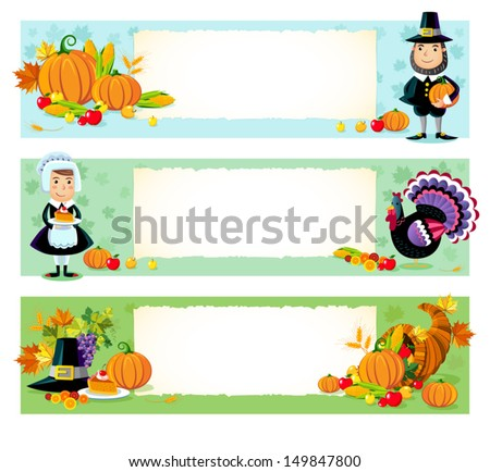 Three vector illustration of thanksgiving day background  - stock vector