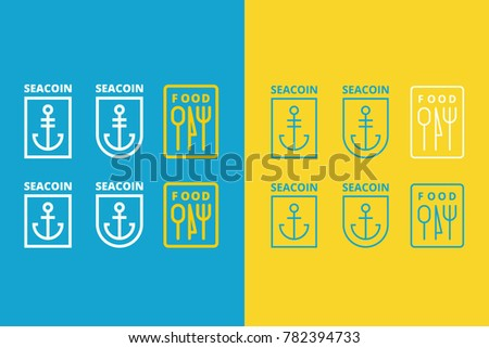 three vector logos of anchor and food