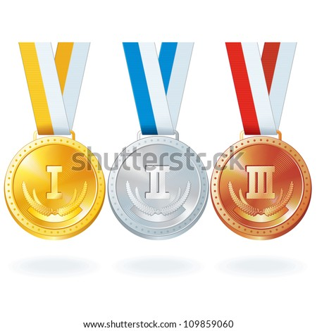 Three Vector Medals. Gold, Silver and Bronze - stock vector