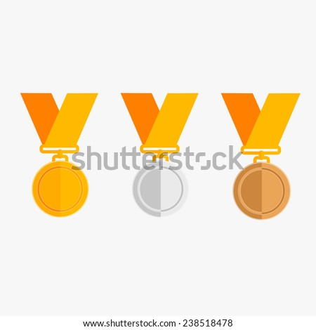 Three vector medals gold, silver and bronze - stock vector