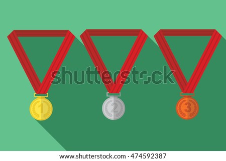 Three vector medals gold, silver and bronze.