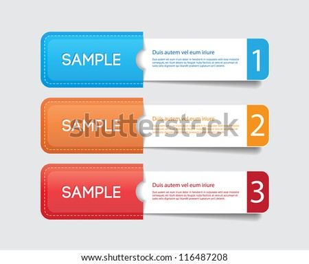 Three vector paper tags / labels / banners in the pockets, one two three steps