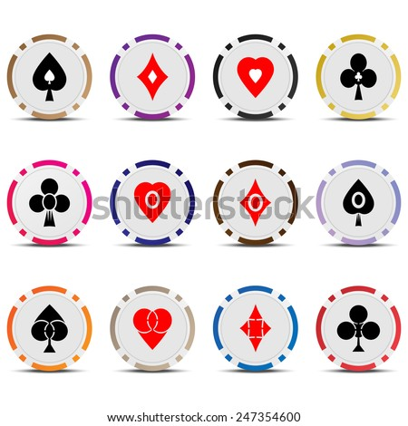 Three vector set poker chips and cards suits isolated on white background. - stock vector