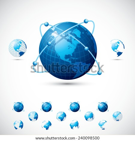 Three versions of Globe vector illustration in Blue color with five different globe side angle. - stock vector