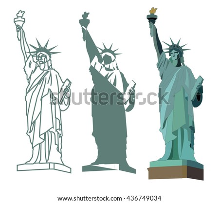 three versions of the statue of liberty