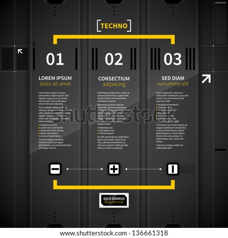 Three vertical banners in techno style. - stock vector