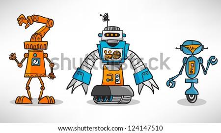 Three vintage cartoon robot - stock vector