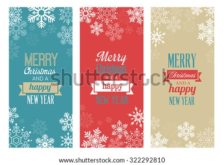 Three vintage Christmas greetings cards for web or print - stock vector