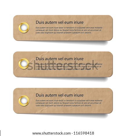 Three vintage old paper tags / labels / banners with metallic holes - stock vector