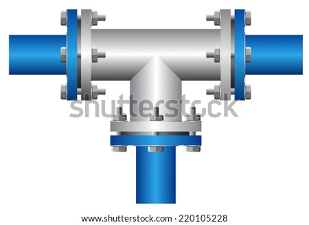 Three way connector of steel pipe on white background. - stock vector