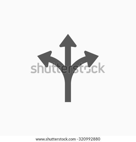 three way direction arrow icon - stock vector