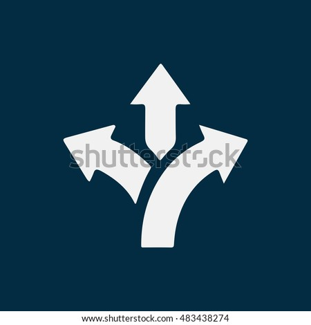 three-way direction arrow sign, road direction icon, vector illustration