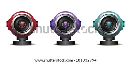 Three web cameras isolated on a white background - stock vector