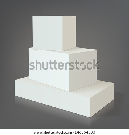 Three white empty box template for medical drugs and other packaging without texture on dark background for design - stock vector