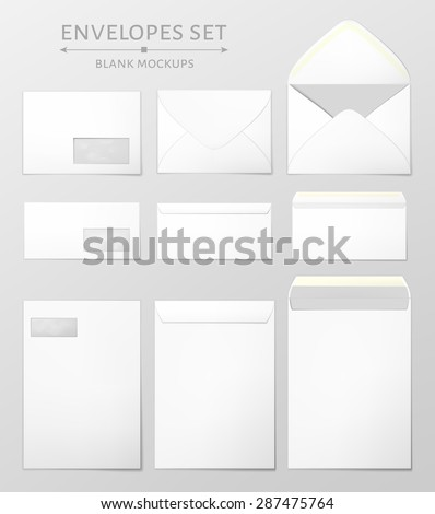 Three white envelopes set. Blank mockups in three views, front and back, open and closed. Transparent window in the front of each envelope can be removed. Full and folded A4 size. Vector illustration. - stock vector