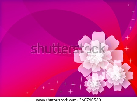 three white flowers in the purple background - stock vector