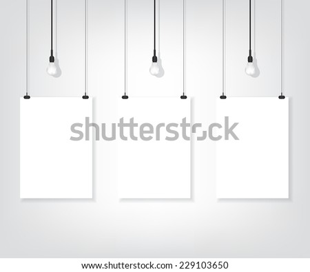 Three white poster on wall and bulb - stock vector