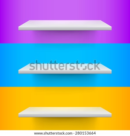 Three white realistic shelves on voilet, blue and yellow background. Vector illustration - stock vector