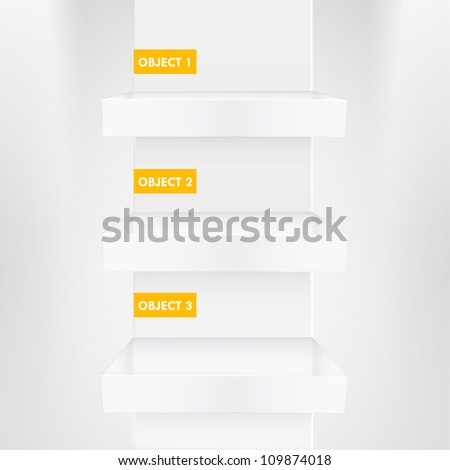 Three white shelves inside a house. Vector design. - stock vector