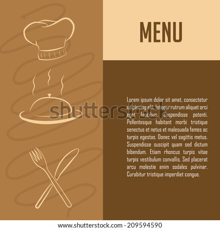 three white sketches of menu icons and some text - stock vector