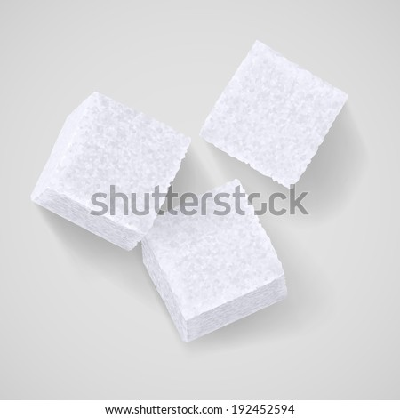Three white sugar cubes with shadow on grey background - stock vector