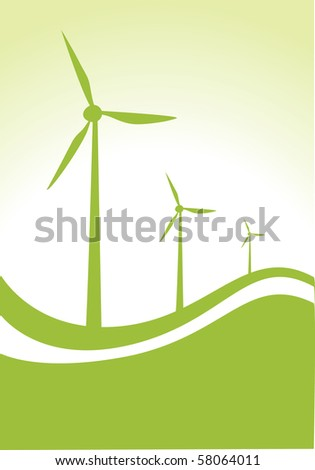 three wind generator on green and white background - stock vector