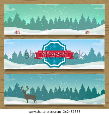 Three winter landscape banners. Vector illustration