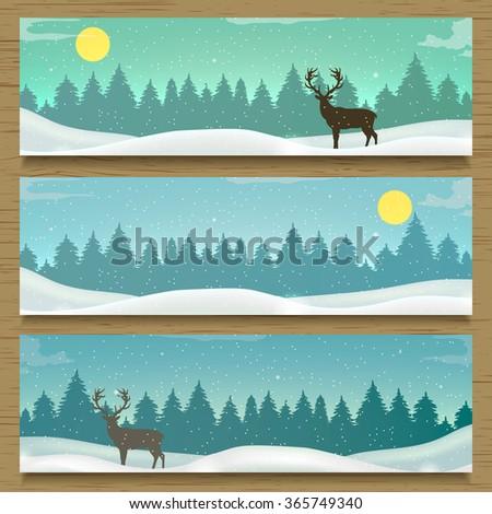 Three winter landscape banners. Winter backround. Vector illustration - stock vector