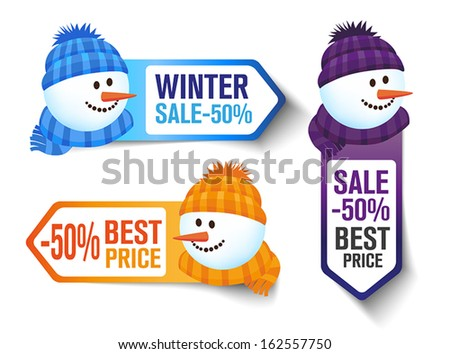 Three Winter Sales Labels With s Snowman - stock vector