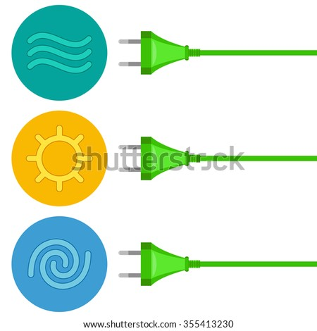 Three wires with plugs are getting energy by renewable sources. Conversion of water, solar and wind energy to electricity. Green energy concept