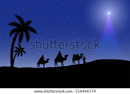 Three wise men and Christmas star on night background, illustration.