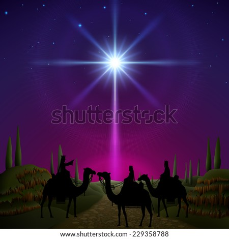 Three wise men follow the star of Bethlehem. EPS 10, contains transparency. - stock vector