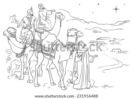 Three wise men following the star of Bethlehem. Colouring page. Also available colored version - stock vector