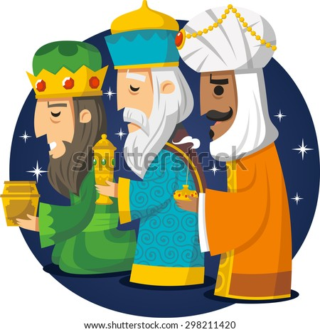 Three Wise Men, the three Kings, Melchior, Gaspard and Balthazar. Vector illustration cartoon.  - stock vector